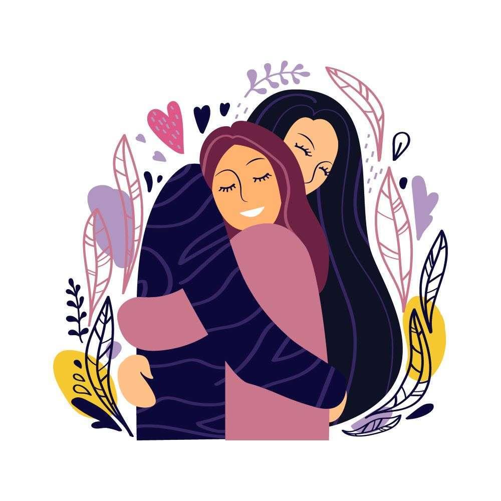 illustration of two women hugging
